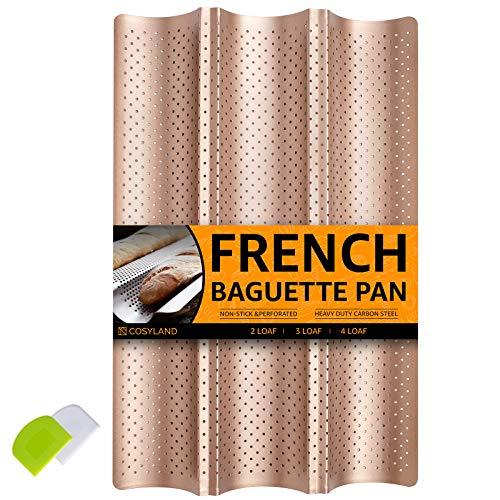 COSYLAND Teglia per Baguette Perforato da Forno 3 Onde Pane Francese, Stampo Antiaderente + Raschietto per Pasta, Utensili da Cucina per Fornai Professionisti (Oro)
