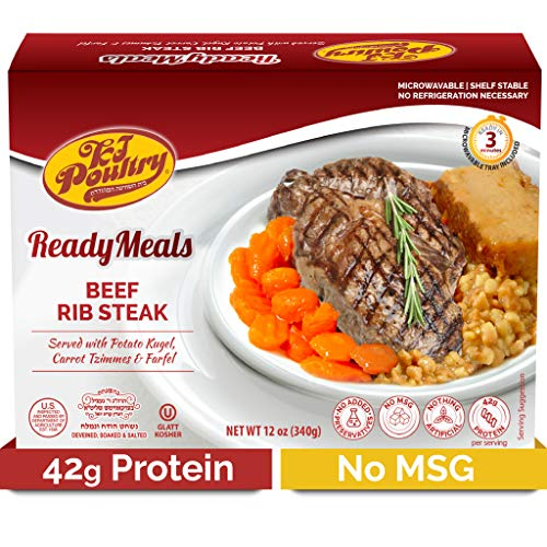 Kosher MRE Meat Meals Ready to Eat, Beef Rib Steak & Kugel (6 Pack) - Prepared Entree Fully Cooked, Shelf Stable Microwave Dinner – Travel, Military, Camping, Emergency Survival Protein Food Supply