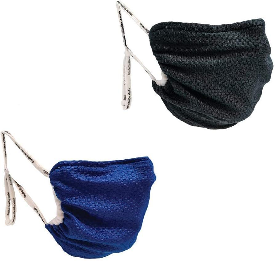Breathe Healthy Black Blue Cloth 保証 Face USA Made Bundle Mask in 超人気