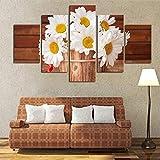 XCSMWJA Sin Enmarcar Pintura 5 Piezas/Set Flores Daisy Imagen Modular Moderna Planta De Arte De Pared De Lona A La Decoración del Hogar A