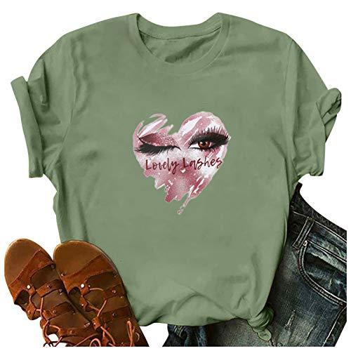 WOBANG Camiseta corta informal para mujer, con cuello en V, tallas grandes, para verano, transpirable, suave...