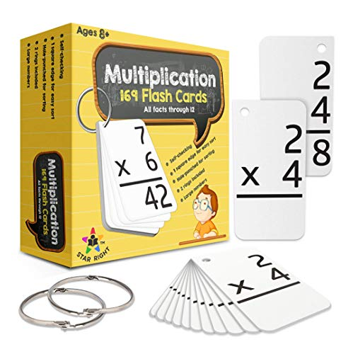 Star Right Multiplication with 2 Metal Binder Rings   169 Self Checking Flashcards   for Ages 8 and Up