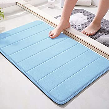 Memory Foam Bath Mat 15.5  X 23  Coral Velvet Super Non-Slip Rapid Water Absorption Soft and Comfortable Easier to Dry Machine Wash Bathroom Mat Sky Blue