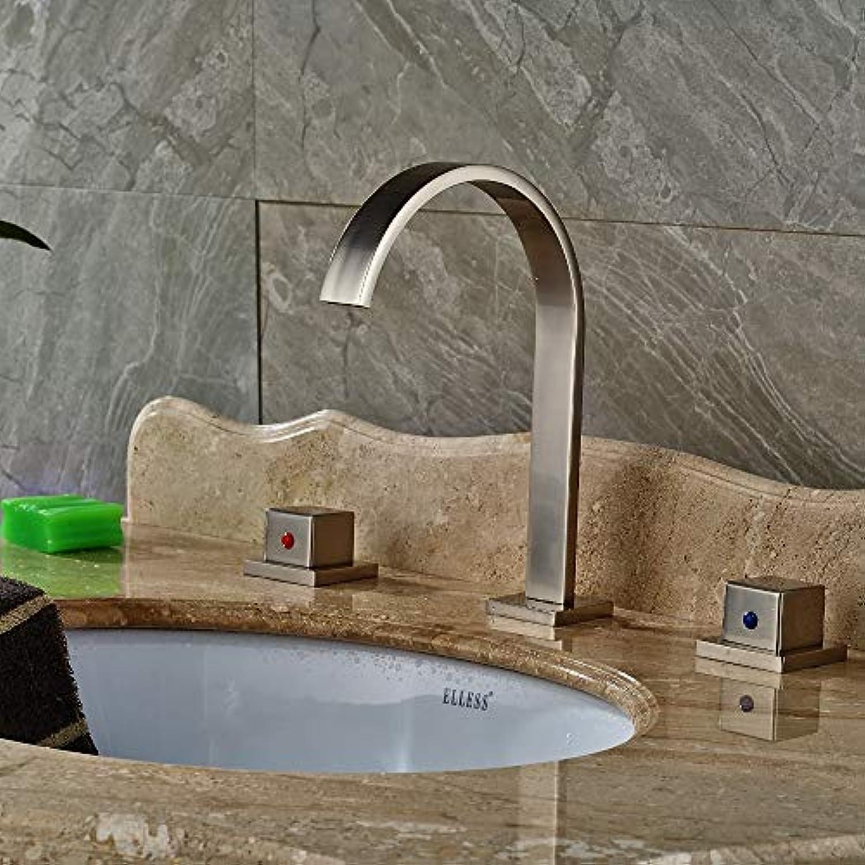 Floungey BadinsGrößetionen Waschtischarmaturen Küchenarmaturen Nickel Gebürstet Badezimmer Verbreitet Badezimmer Basin Wasserhahn Dual Griffe Mischbatterie