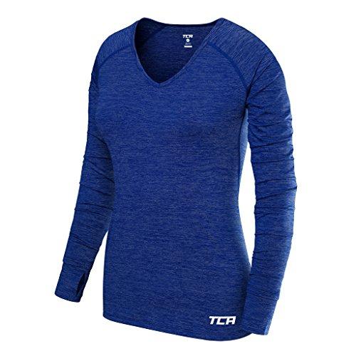 TCA Elle Quickdry Damen Laufshirt/Funktionsshirt - Langarm - Blau, L