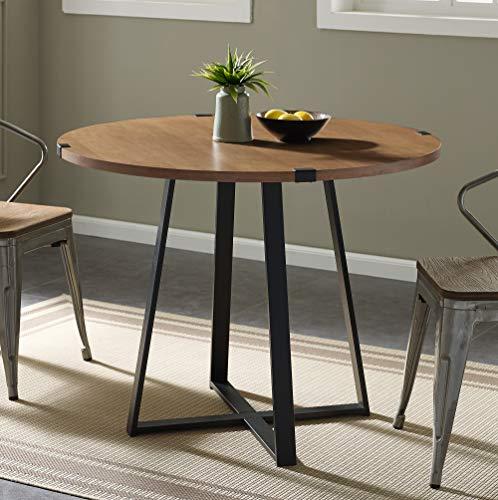 WE Furniture Dining Table, 40', English Oak/Black
