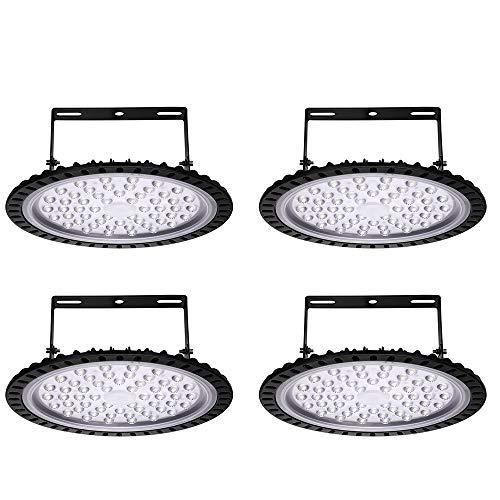 4 sztuki UFO lampa przemysłowa LED, lampa halowa, lampa przemysłowa, lampa halowa, oświetlenie warsztatowe, zimna biel, 6000-6500 K, kąt świecenia 120°(4 sztuki, 200 W)