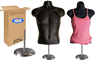 Male + Female Mannequin Torso by EZ Mannequins, Dress Form Body Display Stand, Easy Set Up and Transport, Great for Indoor Or Outdoor Table Products, Deluxe 8