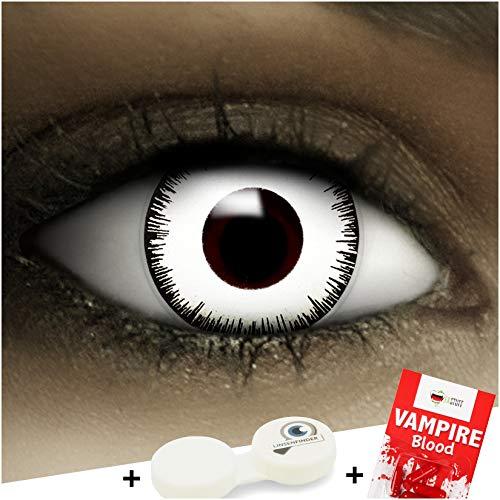 Farbige Kontaktlinsen Vampir MIT STÄRKE -2.00 + Kunstblut Kapseln + Behälter von FXCONTACTS in weiß, weich, im 2er Pack - perfekt zu Halloween, Karneval, Fasching oder Fasnacht