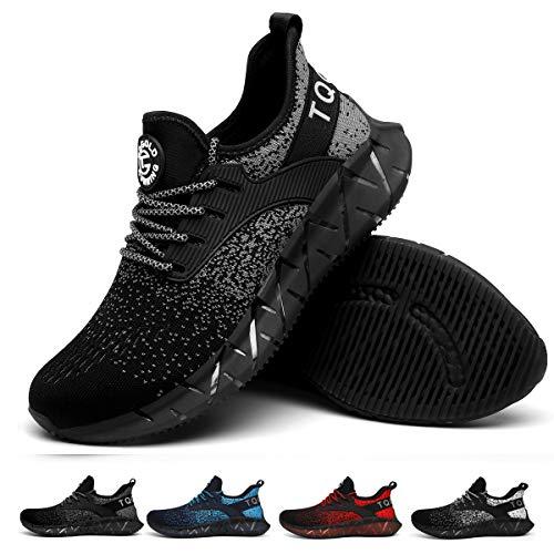 tqgold Sportschuhe Herren Damen Laufschuhe Turnschuhe Leichte Atmungsaktive Sneaker(Schwarz Grau,Größe 36)