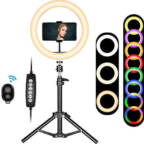 Selfie Ring Light with Stand, 10 inch RGB Desk Ring Light with Tripod Stand and Cell Phone Holder, LED Camera Ringlight for YouTube Video Recording, Makeup, Vlogging, Live Stream, Photography