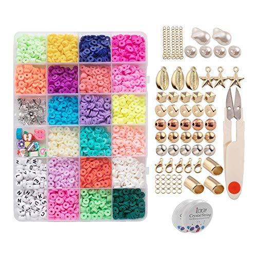 Baoblaze 3200Pcs Flat Round Polymer Clay Spacer Beads para Fazer Jóias Pulseiras Colar Brinco DIY Craft com Pingente de Tesoura (cores Contas 6mm 20)