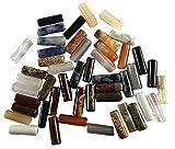 48 cuentas alargadas, de piedras semipreciosas, mixtas, de 12 mm de largo, cilíndricas, piedras curativas, para manualidades, aventurina, obsidiana, jaspe, sodalita, ónce, ojo de tigre
