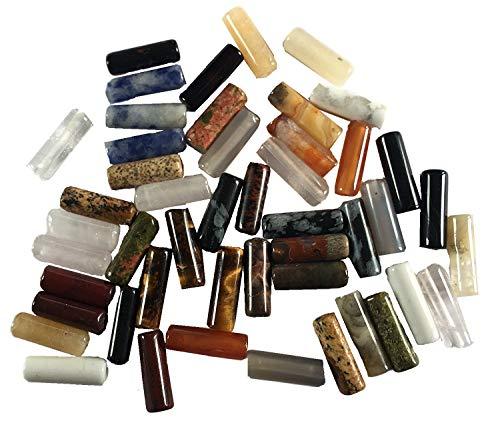 48 cuentas alargadas, de piedras semipreciosas, mixtas, de 12 mm de largo,...