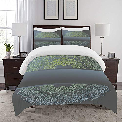 DARREOO Duvet Cover Set-Bedding,Circle Lace Hand Drawn Ornament Card,Quilt Cover Bedlinen-Microfibre 140x200cm with 2 Pillowcase 50x80cm