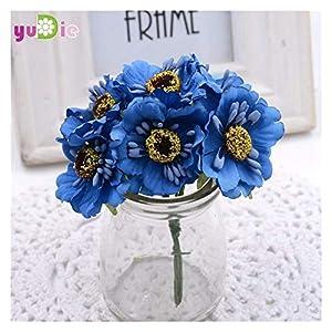 LYLY 6pcs 3.5cm Silk Cherry Artificial Poppy Bouquet DIY Handmade Tattoo Wreath Scrapbook Wedding Fake Flower