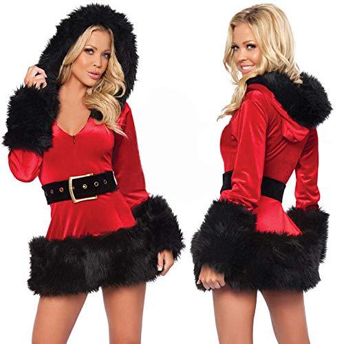 Conjuntos de lencera para mujer Ropa de dormir para mujer Disfraz de Navidad con capucha sirvienta sirvienta princesa disfraz auxiliar de vuelo foto discoteca escenario uniforme tentacin-negro _ Ta