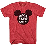 Disney Mickey Mouse World's Best Dad Ever Disneyland Graphic Adult T-Shirt(Heather Red,Large)