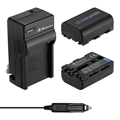 Powerextra 2 Pack Replacement Sony NP-FM50 Battery and Travel Charger Compatible with Sony NP-FM30 NP-FM51 NP-QM50 NP-QM51 NP-FM55H Battery and Sony M Type NP-FM50 Equivalent Camcorder/Camera