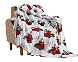 Christmas Holiday Throw Blanket: Country Rustic Red Truck with Old Fashion Sugar Cookies Candy Canes and Mints (Style 6)