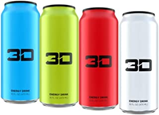 3D Energy Drink | Caffeine, Zero Sugar, Taurine, Panax Ginseng, Inositol, Guarana Seed, L-Carnitine Tartrate, 16 Fluid Ounce  | 4 Pack (1 of Each: Blue, Green, Red, White)