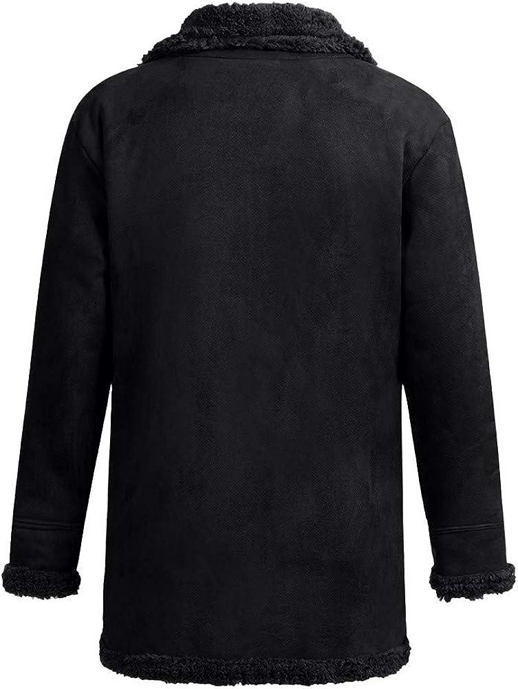 kemilove Men's Vintage Sheepskin Jacket Fur Leather Jacket Cashmere Shearling Coat