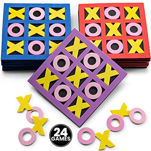 Tic Tac Toe - (Bulk Pack of 24) 5' x 5' Foam Tic-Tac-Toe Mini Board Game Toys in Neon Colors for...