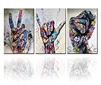 Tucocoo 落書きアートパネルキャンバス絵画室内装飾壁画 カラフルなストリートグラフィティアート抽象人気アートワークポスタープリント防湿家の装飾オフィスの装飾背景の装飾通りの装飾廊下の装飾壁の装飾(40×60cm×3パネルセット)