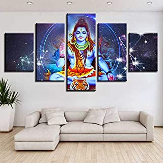 SoulSpaze Canvas Poster Modular HD Prints Wall Art 5 Pieces Indian Religious Buddha Portrait Shiva Lord Painting No Frame (40x60cmx2,40x80cmx2,40x100cmx1)