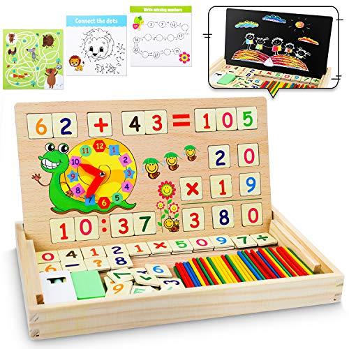 lenbest Set di Giochi Montessori in Legno Magnetico, Giocattoli Giochi Montessori Educativo Legno Puzzle di Matematica per la Scuola 3+ Anni Bambini Ragazza Ragazzo