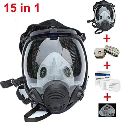 Respirateur facial complet 15 en 1 - Masque respiratoire similaire à un masque à gaz pour peinture, pulvérisation, soudage de produits chimiques.
