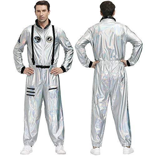 GZJCKJ Disfraz de Halloween, Pareja Adulta, Tierra errante, Traje Espacial, Fiesta, Juego de Roles, Astronauta, Hombres y Mujeres, Hombre Plateado