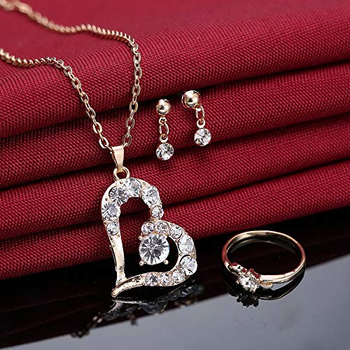 jieGorge Fashion Jewelry Sets For Women Crystal Heart Necklace EarringsWedding Accessor , Necklaces & Pendants , Products for Christmas