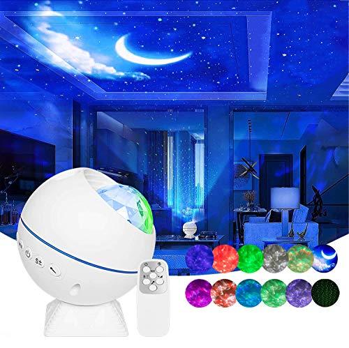 Wurkkos Projektor gwiaździstego nieba, światło nocne, światło księżycowe LED do samochodu, sypialni, pokoju dziecięcego, dekoracja, na imprezę i kino domowe