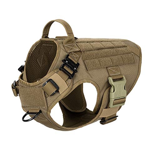 ICEFANG Tactical Dog Harness with 2X Metal Buckle, Dog Walking Training MOLLE Vest with Handle,No Pulling Front Leash Clip,Hook and Loop Panel for Dog Patch (M (25'-30' Girth), Coyote Brown)