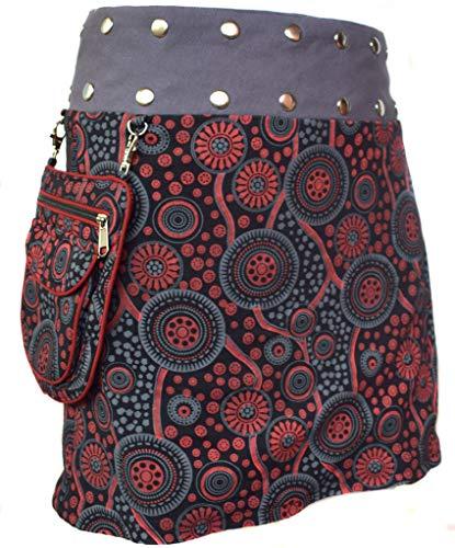 Little Kathmandu - Falda de diseño floral con bolsillo extraíble y broches de presión, falda de algodón reversible A Talla única