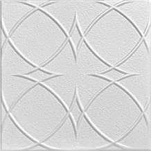 A la Maison Ceilings r82-8pw Circles and Stars Ceiling Tile, Plain White