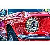 Pintura por Números para Adultos y Niños carro rojo DIY Pintura al Óleo por Números con Pinceles y Pinturas Decoración del Hogar 40×50 cm (Con marco)