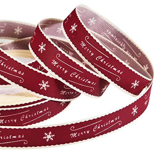 49 Fuß Weihnachten Grosgrain Band Frohe Weihnachten Band mit Schneeflocken Muster Wickelband für Weihnachten Handwerk Party Dekorationen, 15 mm Breit