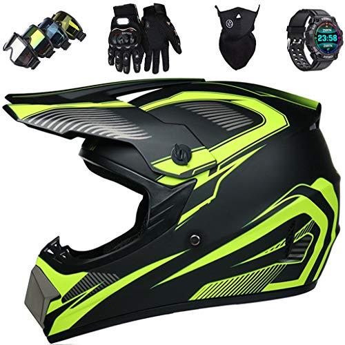 Casco de Moto, Casco de Motocross Adultos y Niños Casco de Protección de MTB Integrales con Gafas / Máscara / Guantes / Reloj Deportivo Inteligente (5 piezas) para Scooter MX ATV - Certificación ECE
