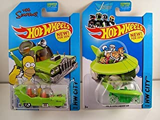 2014 Hot Wheels Hw City - The Simpsons The Homer & The Jetsons Capsule Car - Lot of 2! by Mattel