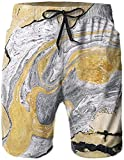Thusjh Atmungsaktive Herren Strandshorts Badehose Shorts Grey Golden Marble Liquid Schnelltrocknend-Geeignet Für Sommer-Surfing Und Poolside-XL