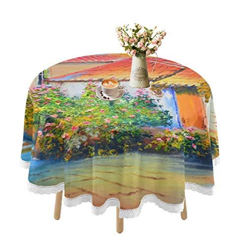 Mantel impermeable para mesas redondas, mantel de encaje para mesa de comedor al aire libre, lavable, picnic, fiestas, cocina, vacaciones, 152 cm