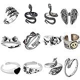 kidnefn 12 pezzi anelli punk vintage set animale anello aperto anello gotico anelli impilabili per donne ragazze da uomo