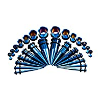 Vogem 拡張器 ピアス セット 28点 ボディピアス 12G-00G ダブルフレア トンネル キャッチ ネジ式 ゴムキャッチ メンズ レディース ステンレス 拡張ピアス 金属アレルギー対応 男女兼用(ブルー)