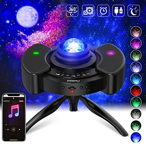 4-in-1 Sternenhimmel Projektor ohne Rauschen, Musik Rhythmus Bluetooth Dual Lautsprecher LED Stern Projektor Nacht Sternenhimmel Licht Nachtlicht Baby, 3 Timing-Modus, Mit Verstellbares 360° Stativ