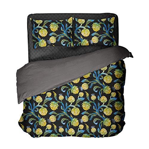 Gzsyb Bed Linen Duvet Set Cover And Pillow Case Microfibre With 1 Quilt Case 2 Pillowcases Case black 3D Digital Print Three - Piece Bed Linen Double 220x230 cm