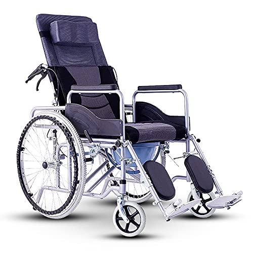 YZJYB Rollstuhl Faltrollstuhl Leichtgewicht Aluminium Für Ältere Und Behinderte Portable Transportrollstuhl Pflegerollstuhl Mit Liegefunktion Beinstütze Und Kopfstütze Sitzbreite 45 cm