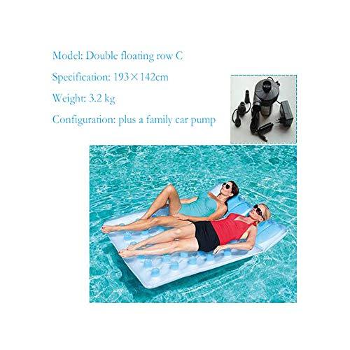 Sharesun Waterpomp, drijvende rugleuning voor 2 personen, zomerstoel voor de vrije tijd, met luchtpomp