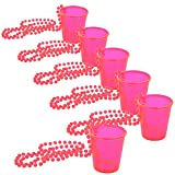 com-four® 6x Schnapsgläser mit Kette zum Umhängen - Zubehör für Junggesellenabschied - Shotglas für Karneval, Fasching, JGA etc - 50 ml (06 Stück - pink)